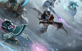 Picture fog, team, Dota 2, Dota, witch doctor, storm spirit, Lana, dynamic pose, qop, queen of …