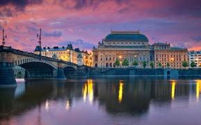 Picture bridge, river, home, the evening, Prague, Czech Republic
