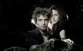 Wallpaper pair, Kristen Stewart, twilight, Robert Pattinson, actors