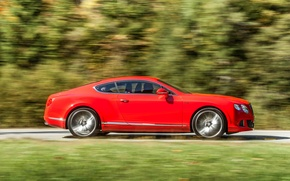 Picture Red, Auto, Bentley, Continental, Forest, Coupe, Side view, In Motion