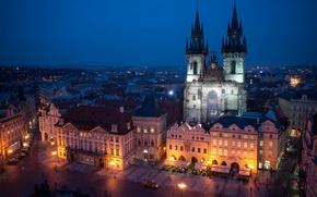Picture the sky, night, the city, building, Prague, Czech Republic, lighting, architecture, blue, Prague, The Czech …