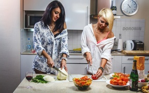 Wallpaper girls, wine, two, glass, bottle, food, brunette, blonde, kitchen, fruit, knives, champagne, vegetables, tomatoes, cabbage, ...