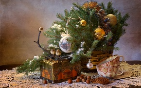 Picture box, toys, tree, cookies, Cup, birds, nuts