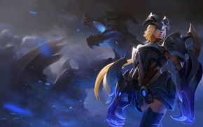 Wallpaper look, girl, dragon, blonde, armor, Shyvana, Half-Dragon
