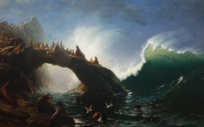 Wallpaper picture, Farallon Island, seascape, Albert Bierstadt, seals