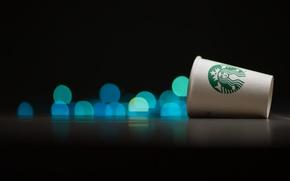 Picture glass, Cup, bokeh, starbucks, Starbucks