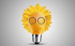 Picture light bulb, creative, petals, gas mask, pear