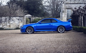 Picture blue, side, Nissan, nissan skyline