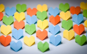 Picture background, Wallpaper, mood, colored, hearts, love, different, origami, widescreen, full screen, HD wallpapers, paper