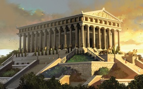 Picture art, painting, ancient, Temple of Artemis