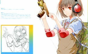 Picture gun, figure, headphones, white background, schoolgirl, backpack, art, shutter, haruaki fuyuno, day & girl