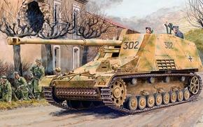 Picture figure, art, Rhino, SAU, German self-propelled artillery, Nashorn, 8.8 cm PaK 43/1 on protections III/IV …