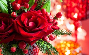 Wallpaper flower, leaves, flowers, branches, roses, spruce, petals, Bud, red, vase, Christmas, holidays, bokeh, New Year