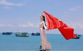 Wallpaper flag, girl, star, the wind, face, dress, Vietnam