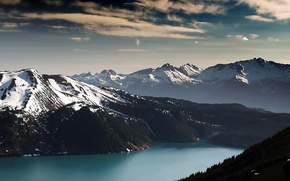 Picture forest, snow, mountains, lake