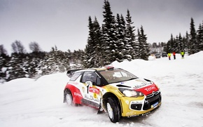 Picture Winter, Road, Sport, Machine, Turn, Citroen, Skid, Citroen, DS3, WRC, Rally, Rally, Cold