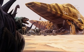 Picture ships, the ark, Dinosaurs, relocation