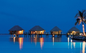 Picture the ocean, the evening, resort, Bungalow, sea, Tahiti, evening, resort, bungalow