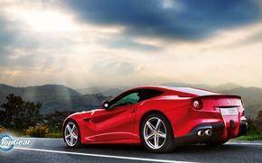 Picture Top Gear, Ferrari, Red, Landscape, Sun, Supercar, Berlinetta, F12, Rear