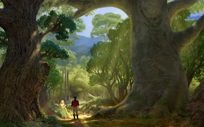 Picture forest, trees, figure, art, Rapunzel, path, Tangled, Flynn, Rapunzel: a Tangled tale