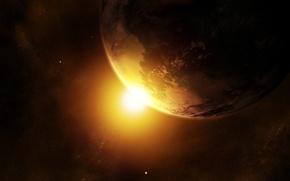 Wallpaper the sun, planet, stars