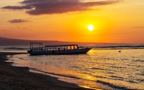 Picture sea, landscape, shore, boat
