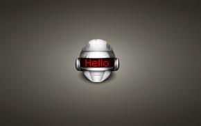 Picture the inscription, techno, helmet, house, daft punk, hello, electronic rock