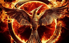 Picture cinema, metal, fire, bird, wings, feathers, film, flames, The Hunger Games, survival, The Hunger Games: …