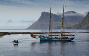 Picture mountains, boat, Bay, yacht, Denmark, Faroe Islands, Faroe Islands, Denmark
