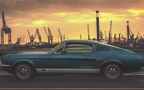 Wallpaper port, Hamburg, Hamburg, Germany, Germany, Ford Mustang