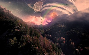 Picture trees, mountains, planet, fantasy