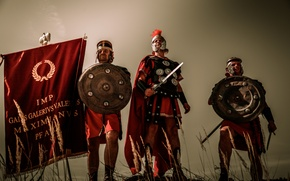 Picture weapons, armor, Rome, warriors, Legionnaires, standard