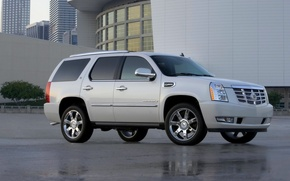 Picture Cadillac, Auto, White, Asphalt, Jeep, Side view, escalade, Wet