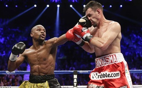 Picture battle, Boxing, gloves, the ring, robert guerrero, floyd mayweather