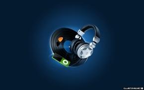Wallpaper iPod, headphones, vinyl
