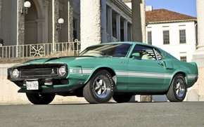 Picture Shelby, GT500, turquoise, muscle car, 1970, ford, Muscle car, mustang, Mustang, house, the front, Ford, ...