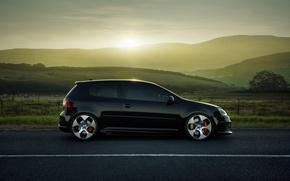 Picture road, field, Volkswagen, drives, Golf, GTI, side, MKV