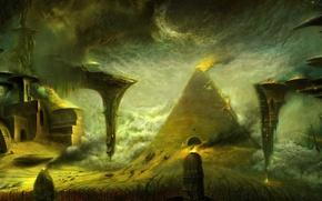 Wallpaper pyramid, night, fire. the city, Voytek Nowakowski