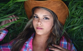Picture grass, look, Girl, hat, lies, beautiful