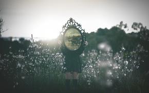 Wallpaper flowers, mirror, dress, girl, clouds, the sun, river, landscape