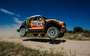 Picture The sky, Orange, Shadow, Freeze, Rally, Dakar, Mini Cooper, SUV, Race, X-raid, 307, Mini Cooper, …