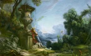 Picture trees, landscape, people, sheep, hat, art, vase, sculpture, sheep, shepherd