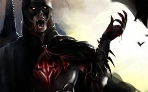 Picture dark, wallpaper, blood, logo, fantasy, tower, Batman, armor, sky, night, cross, clouds, symbol, bat, vampire, …