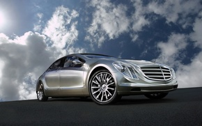 Wallpaper Mercedes-Benz, reflection, Concept, the sky, clouds, F700