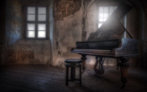 Picture window, chair, piano