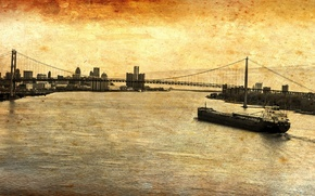 Picture bridge, the city, style, river, barge