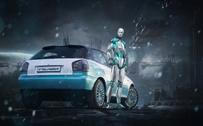 Wallpaper background, Audi, tuning, robot, Audi, drives, Android, rear view, tuning, ESET, Vilner