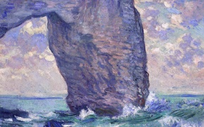 Picture sea, rock, picture, arch, Claude Monet, Manport. Bottom View