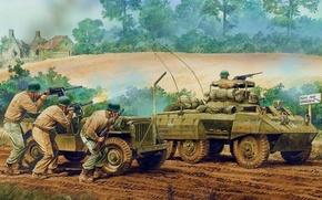 Picture figure, soldiers, shooting, rifle, The second world war, guns, American, avtobronetehnika
