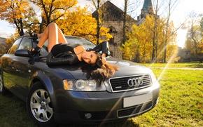 Picture auto, grass, girl, Audi, Girls